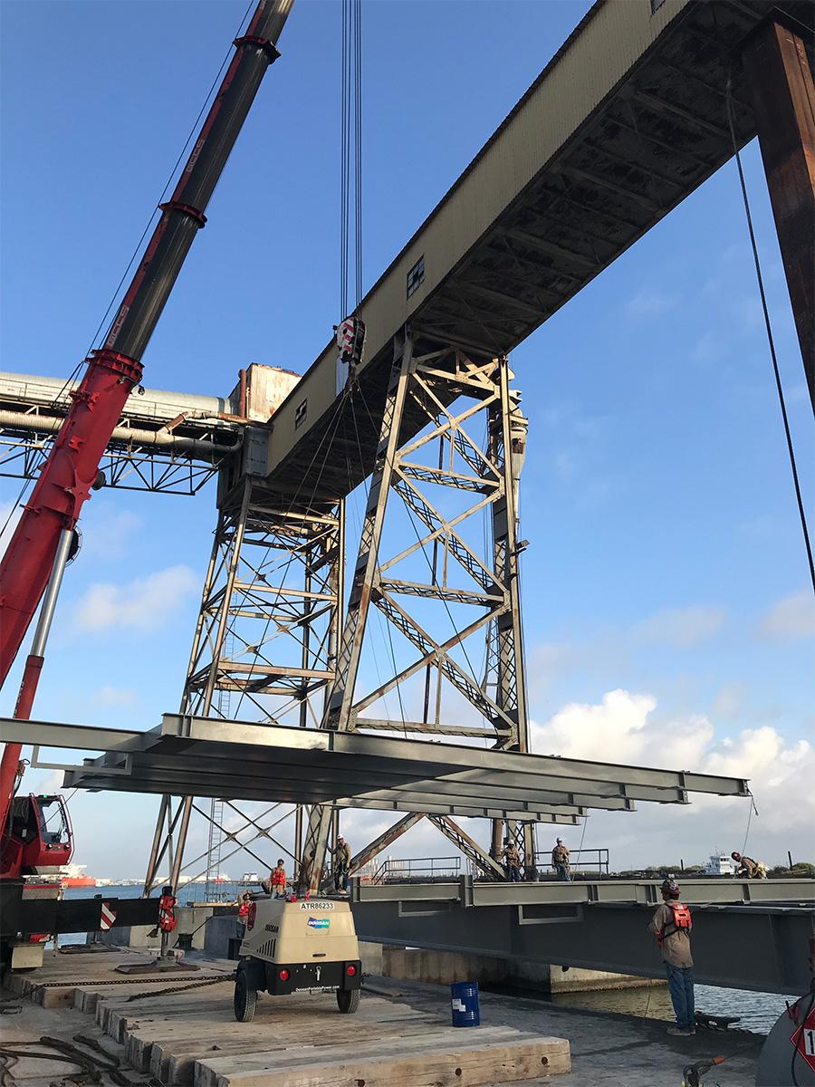 Metal bridge being built